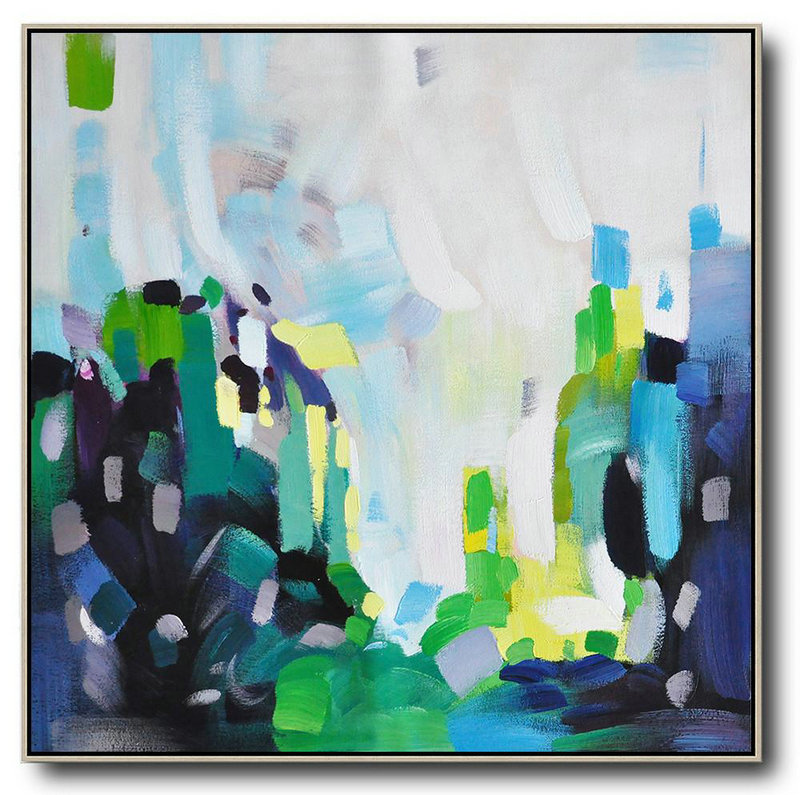 Extra Large Canvas Art,Oversized Abstract Art,Large Wall Art Canvas,White,Green,Black,Yellow.etc